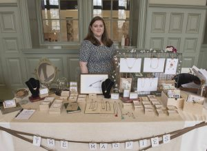 The Magpie's Daughter jewellery stall. And the lovely Rachel posing with her great selection of jewellery.