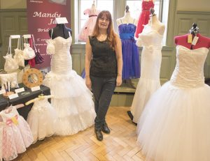 Wedding dresses and bridesmaid's dresses were on show.